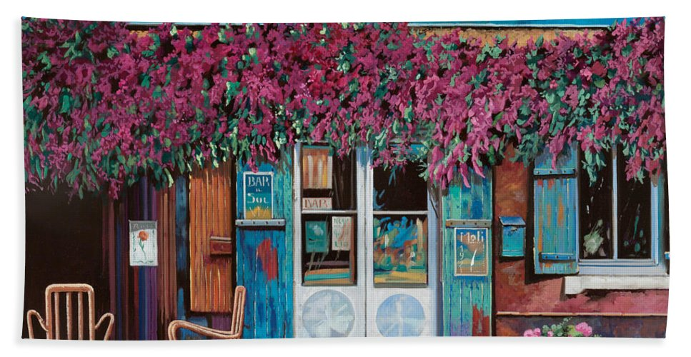 Caffe' Hand Towel featuring the painting caffe del Aigare by Guido Borelli