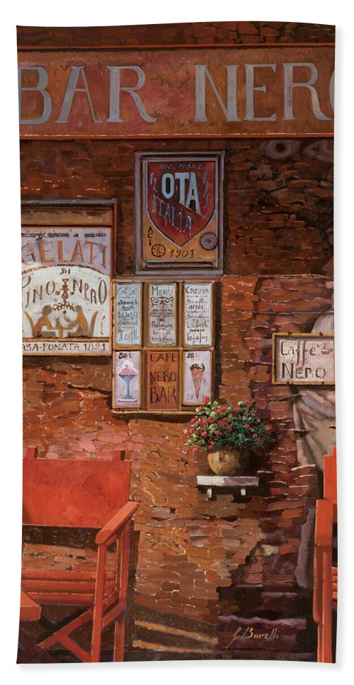 Caffe' Hand Towel featuring the painting caffe Nero by Guido Borelli