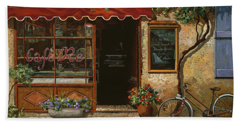 Caffe' Bath Towel featuring the painting caffe Re by Guido Borelli
