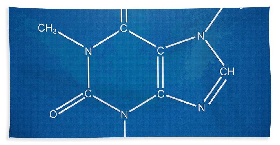 Caffeine Bath Sheet featuring the digital art Caffeine Molecular Structure Blueprint by Nikki Marie Smith