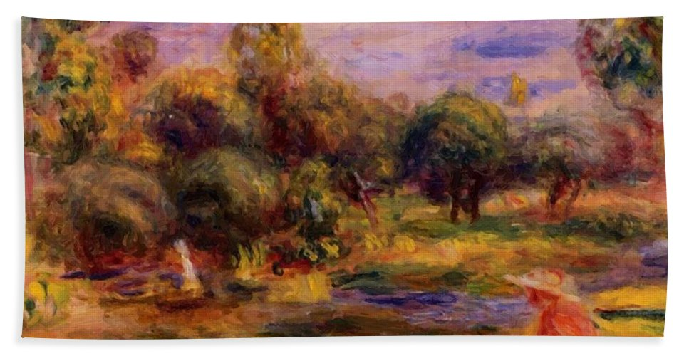 Cagnes Hand Towel featuring the painting Cagnes Landscape 1908 by Renoir PierreAuguste