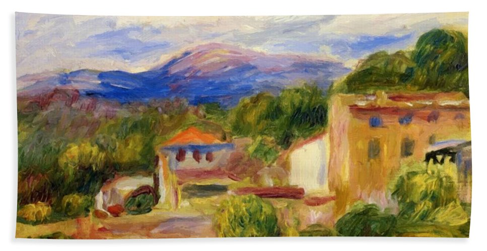 Cagnes Hand Towel featuring the painting Cagnes Landscape 1910 1 by Renoir PierreAuguste