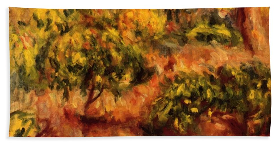 Cagnes Hand Towel featuring the painting Cagnes Landscape 1919 by Renoir PierreAuguste