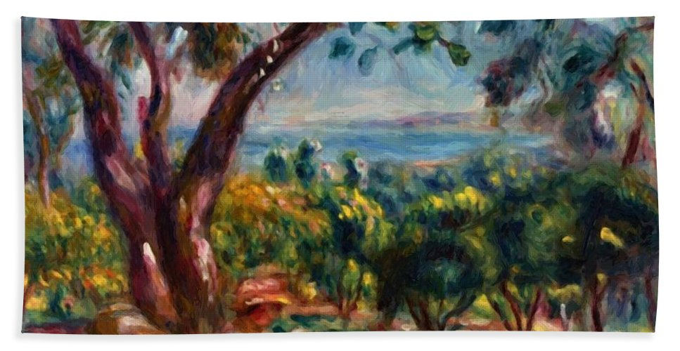 Cagnes Hand Towel featuring the painting Cagnes Landscape With Woman And Child 1910 by Renoir PierreAuguste