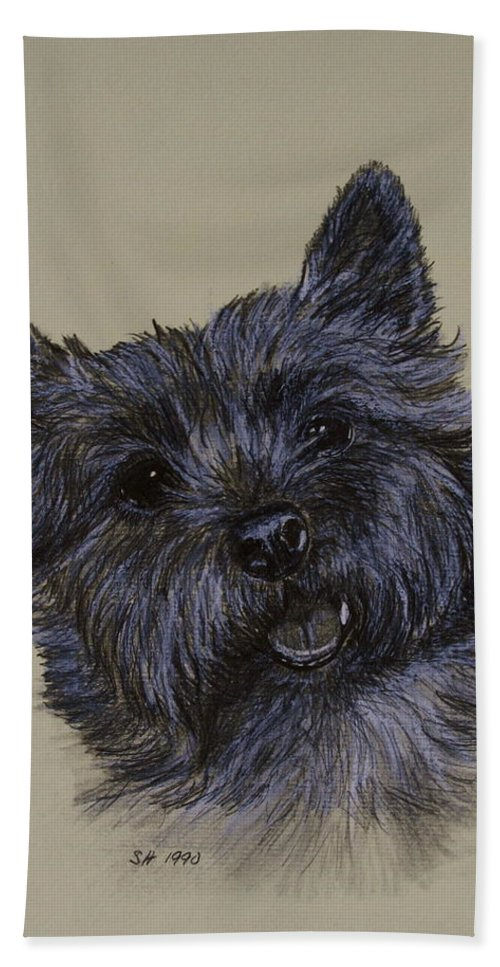 Cairn Bath Sheet featuring the drawing Cairn Terrier by Susan Herber