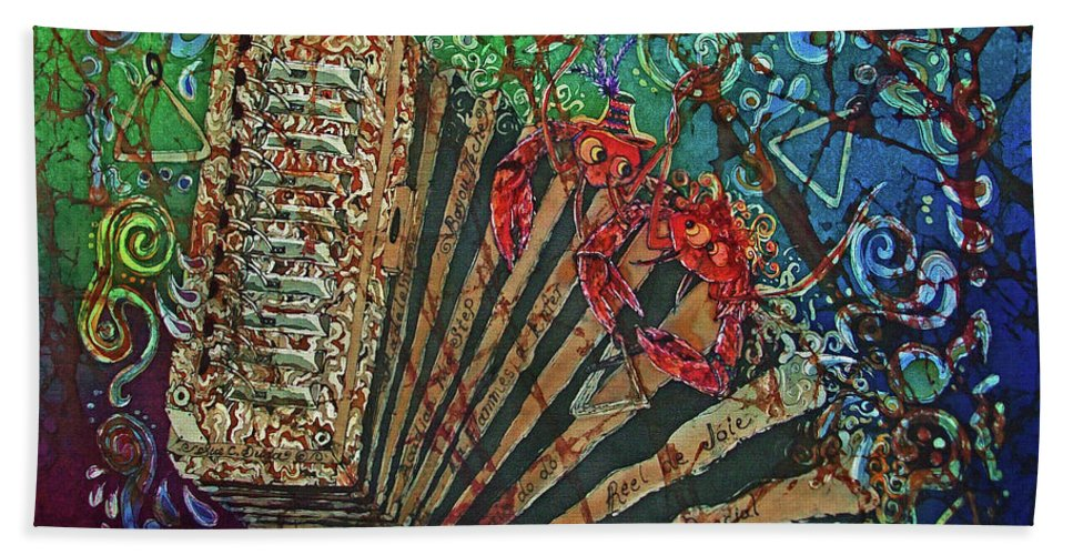 Cajun Bath Towel featuring the painting Cajun Accordian by Sue Duda