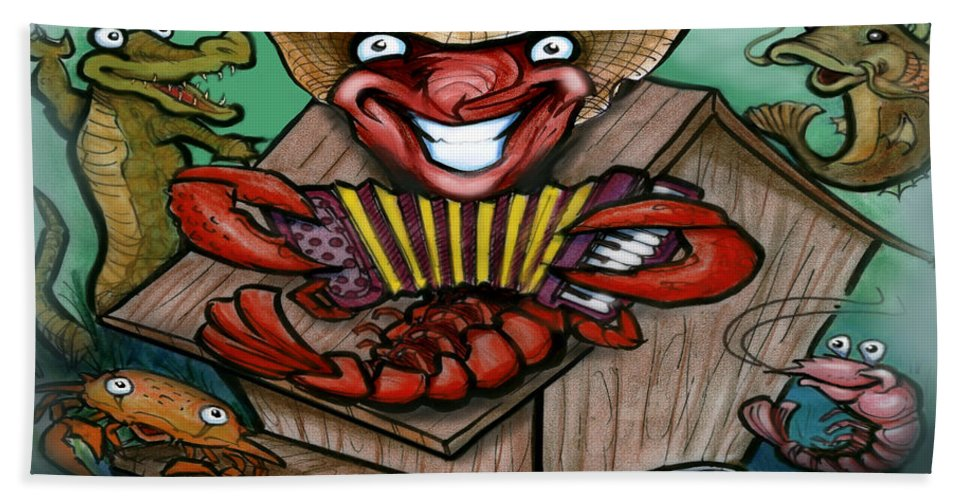 Cajun Hand Towel featuring the greeting card Cajun Critters by Kevin Middleton