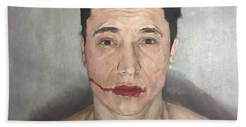 Figurative Bath Sheet featuring the painting Caked Up Make Up by Shane Vate
