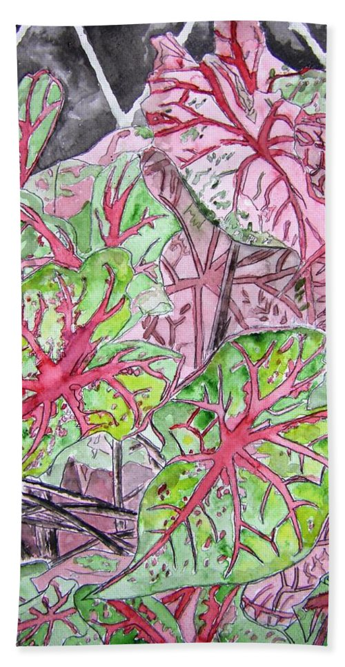 Watercolour Hand Towel featuring the painting Caladiums Tropical Plant Art by Derek Mccrea