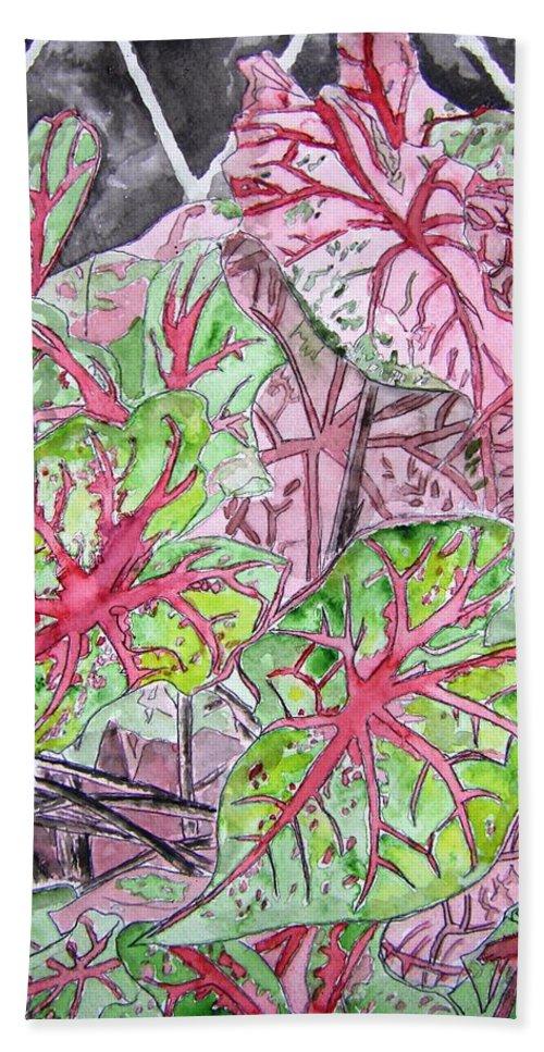 Watercolour Bath Sheet featuring the painting Caladiums Tropical Plant Art by Derek Mccrea