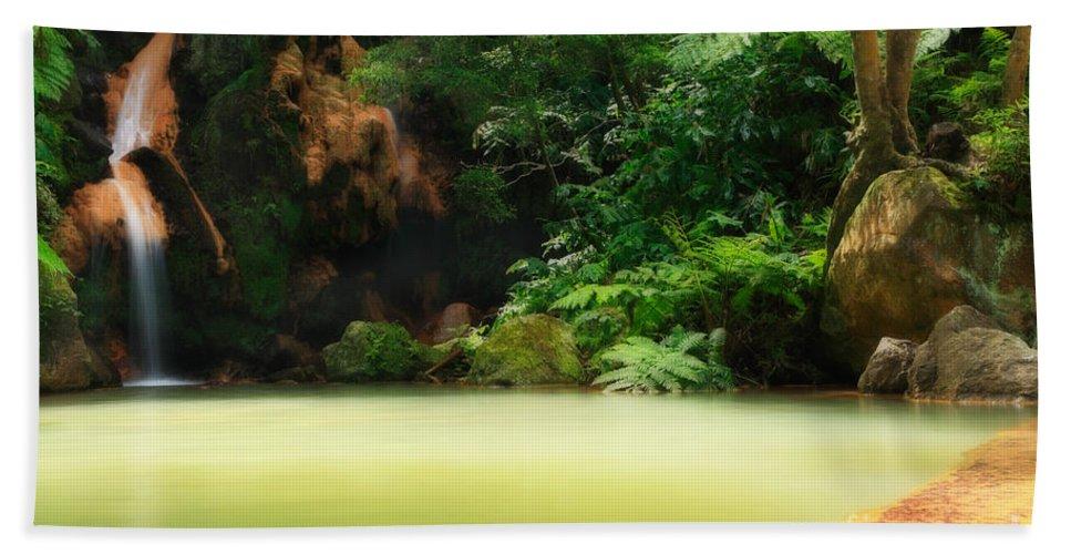 Azoren Hand Towel featuring the photograph Caldeira Velha Thermal Pool by Gaspar Avila