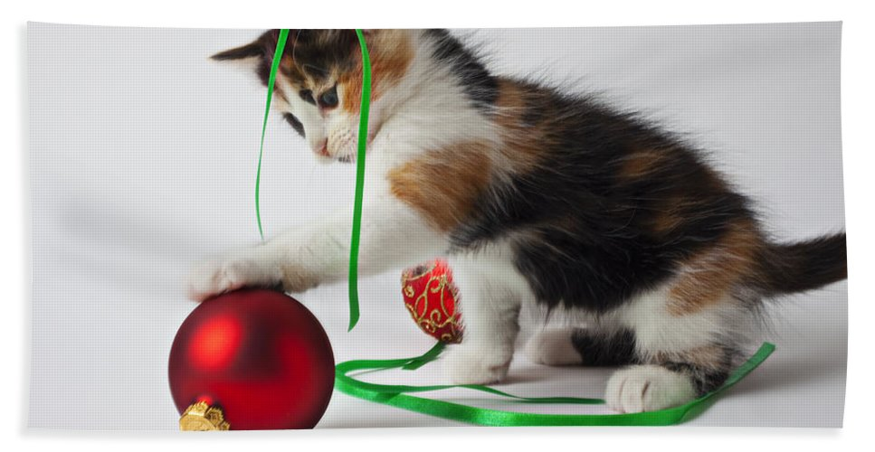 Calico Kitten Christmas Ornaments Bath Sheet featuring the photograph Calico Kitten And Christmas Ornaments by Garry Gay