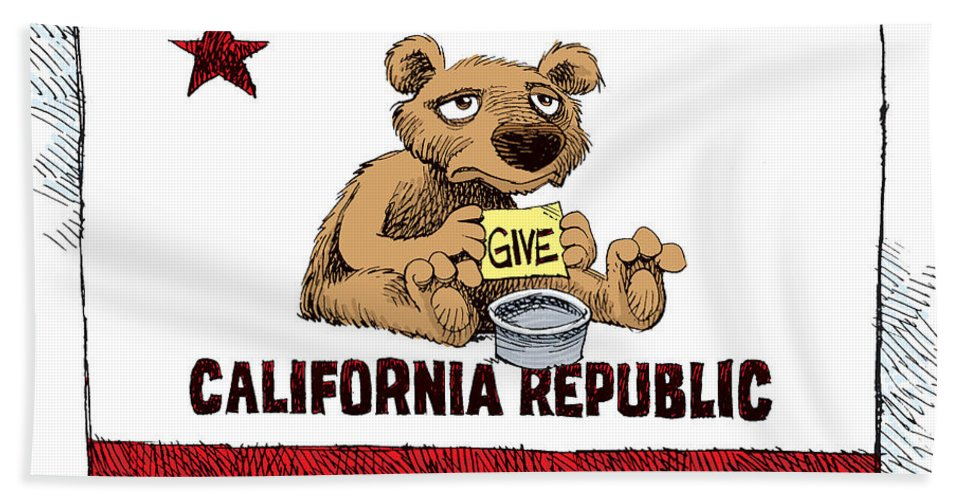 California Bath Sheet featuring the drawing California Budget Begging by Daryl Cagle