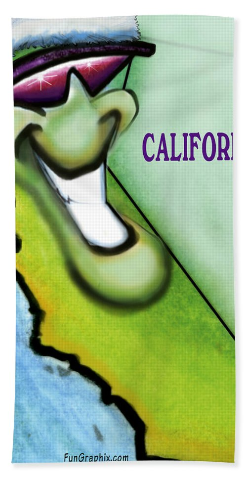 California Bath Sheet featuring the greeting card California Christmas by Kevin Middleton