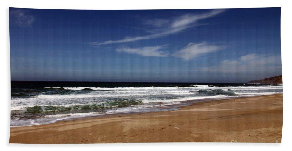 scott Creek Beach Bath Sheet featuring the photograph California Coast by Amanda Barcon