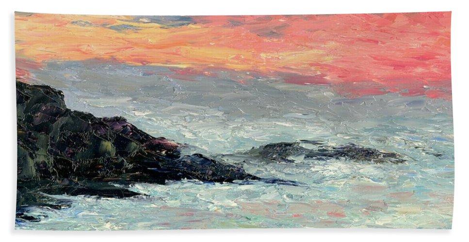 Seascape Bath Towel featuring the painting California Coast by Gail Kirtz