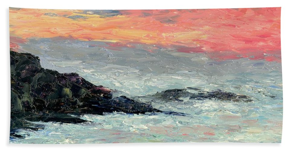 Seascape Bath Sheet featuring the painting California Coast by Gail Kirtz