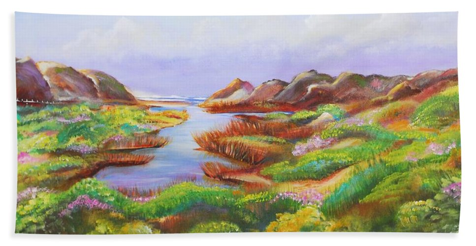 Landscape Hand Towel featuring the painting California Coast by Patricia Piffath
