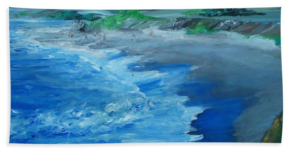 California Coast Bath Sheet featuring the painting California Coastline Impressionism by Eric Schiabor