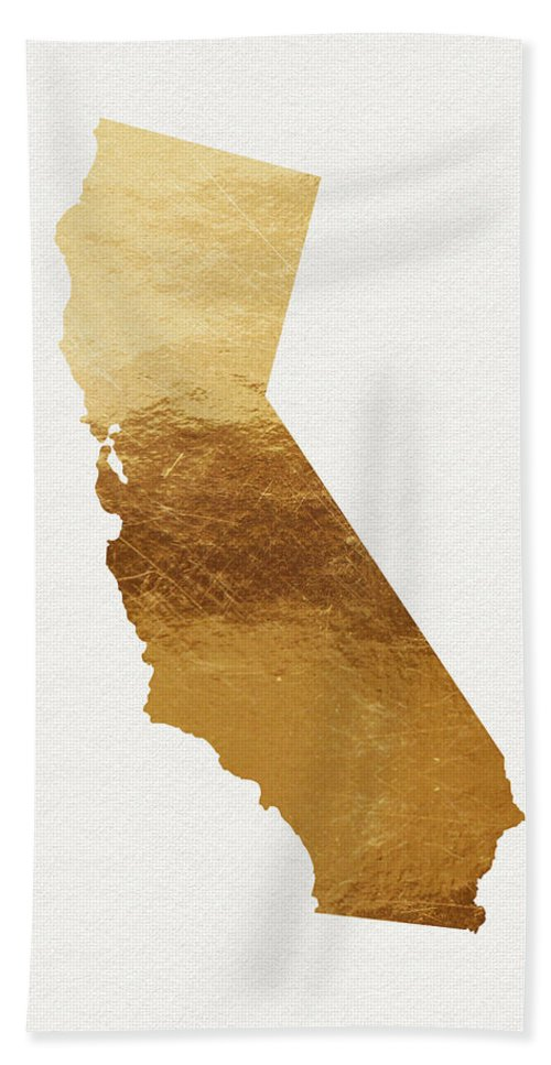 California Bath Towel featuring the mixed media California Gold- Art by Linda Woods by Linda Woods