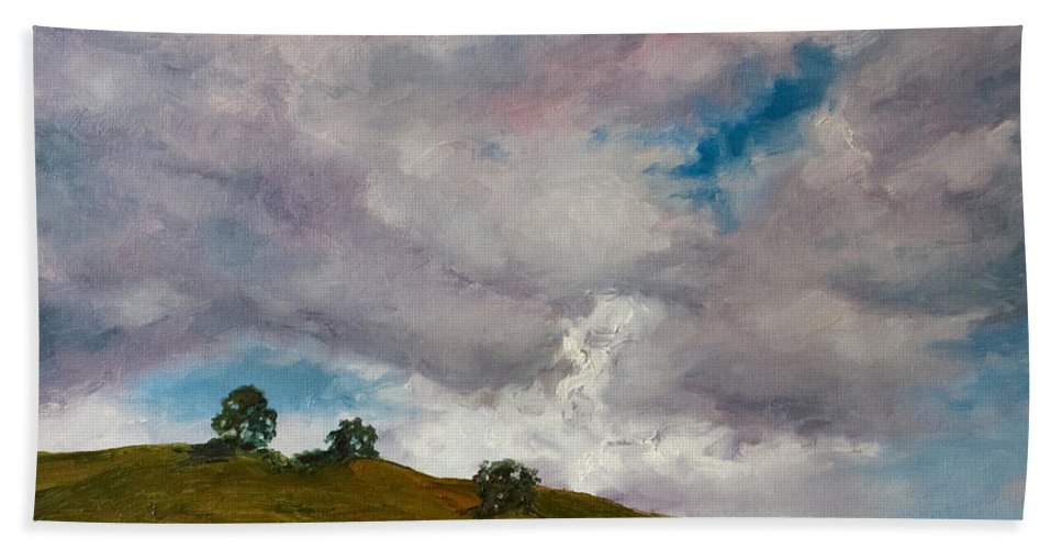 Sky Bath Towel featuring the painting California Hills by Rick Nederlof
