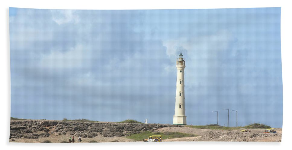 Aruba Bath Sheet featuring the photograph California Lighthouse by Thomas Marchessault