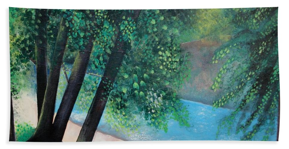 Landscape Hand Towel featuring the painting California Magic by Helena Tiainen