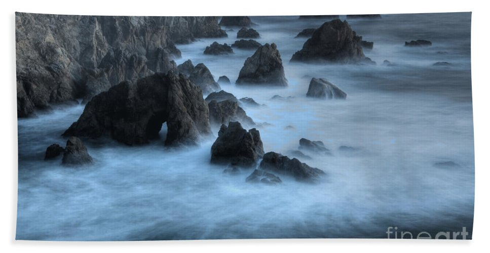Sunset Hand Towel featuring the photograph California Rocky Coastline by Bob Christopher