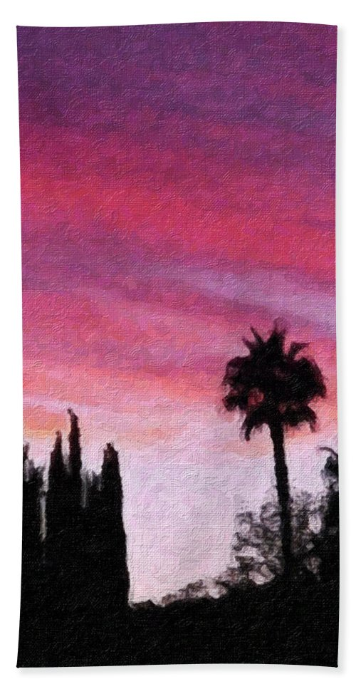 California Hand Towel featuring the painting California Sunset Painting 2 by Teresa Mucha