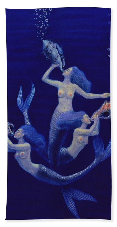 Mermaids Hand Towel featuring the painting Call Of The Mermaids by Sue Halstenberg