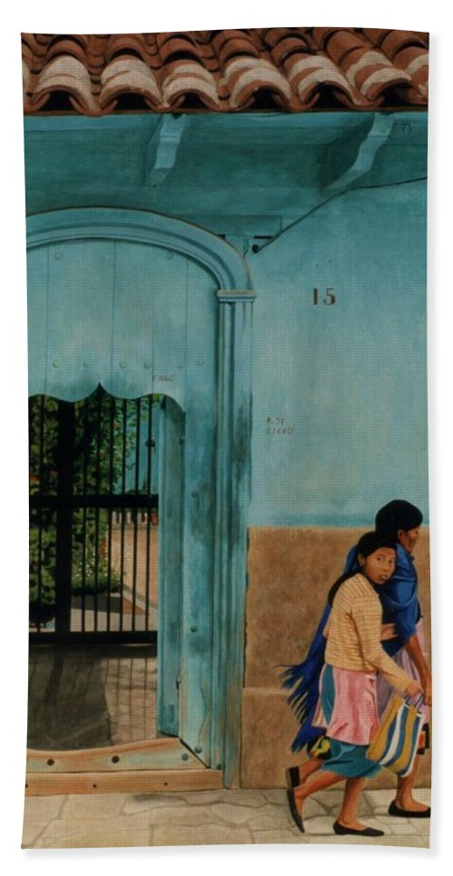 Hyperrealism Bath Sheet featuring the painting Calle Hermanos Dominquez by Michael Earney