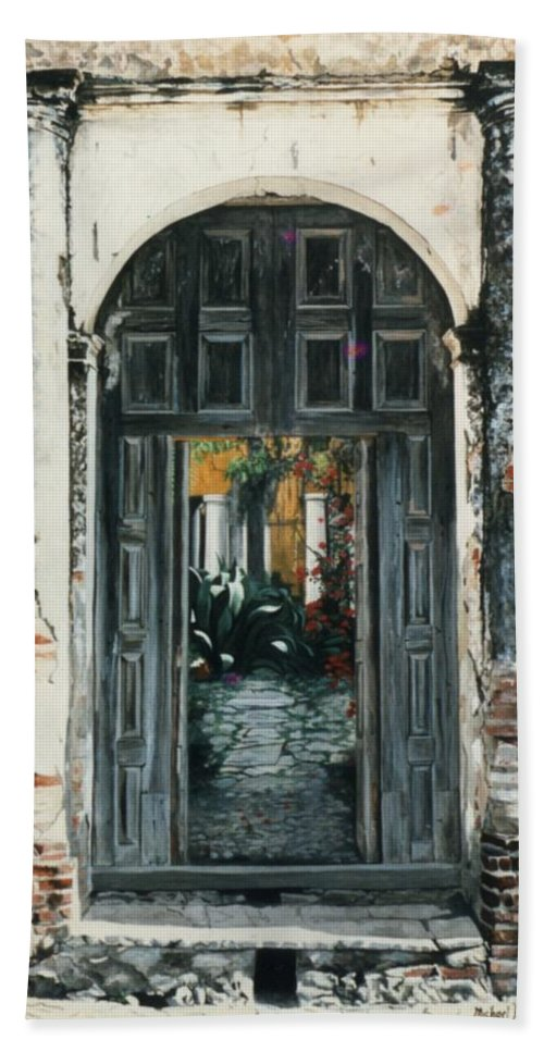 Hyperrealism Hand Towel featuring the painting Calle Tapachula - 2 Doors Open by Michael Earney