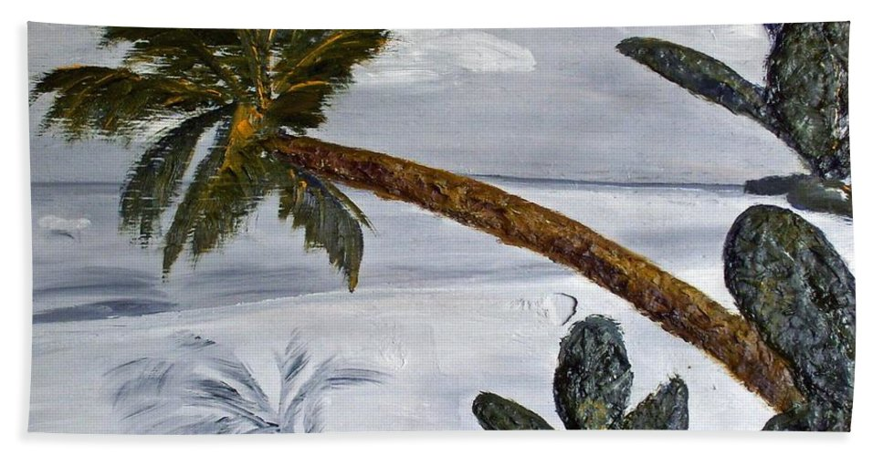 Still Life Paintings Hand Towel featuring the painting Calm Beach Palm by Leslye Miller