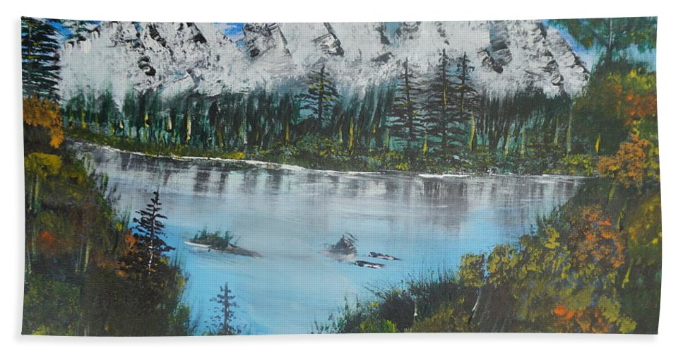 Landscape Hand Towel featuring the painting Calm Lake by Jimmy Clark