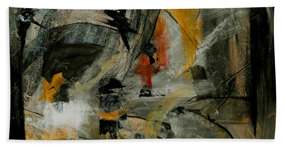 Abstract Hand Towel featuring the painting Calm Out Of Chaos by Ruth Palmer