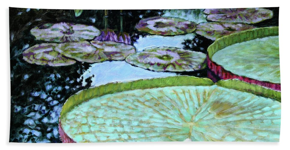 Water Lilies Bath Towel featuring the painting Calm Reflections by John Lautermilch