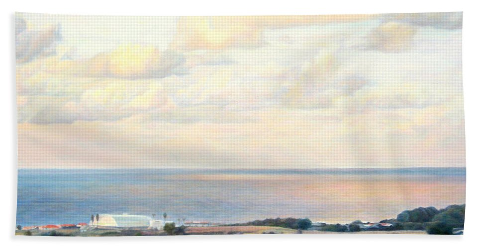 Beach Hand Towel featuring the painting Calm Sea... View From My Balkon by Maya Bukhina