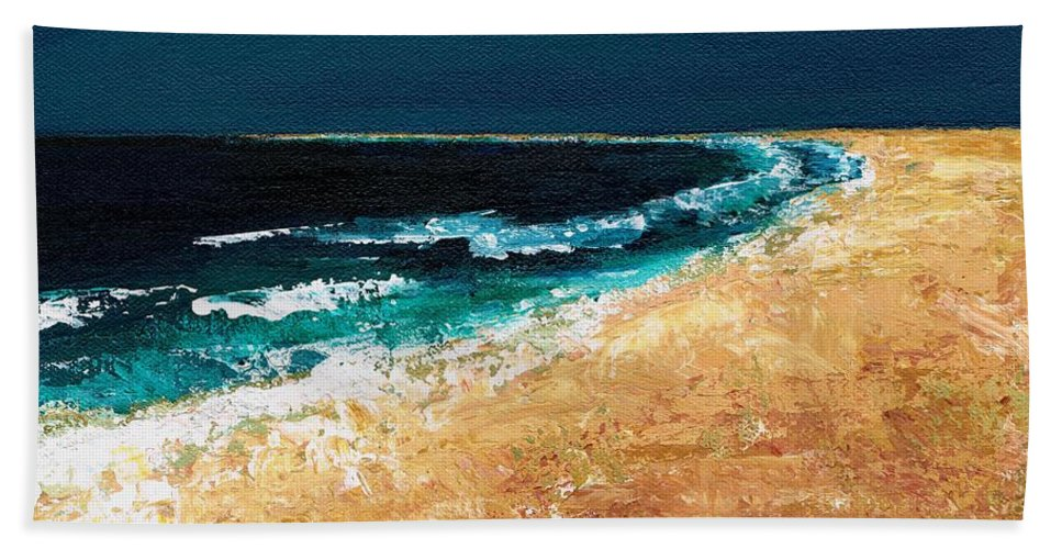 Ocean Tide Bath Sheet featuring the painting Calming Waters by Frances Marino