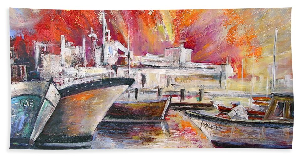 Harbour Painting Spain Seascape Acrylics Hand Towel featuring the painting Calpe Harbour Spain by Miki De Goodaboom