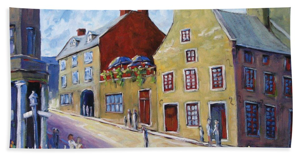 Rural Bath Towel featuring the painting Calvet House Old Montreal by Richard T Pranke