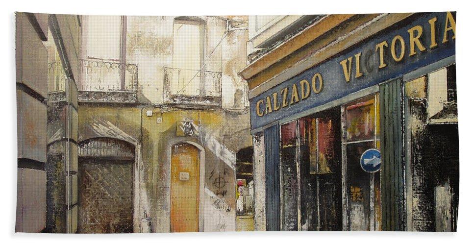 Calzados Bath Towel featuring the painting Calzados Victoria-leon by Tomas Castano