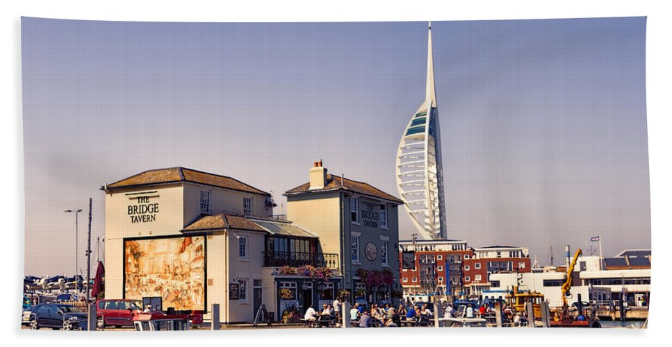 Caber Dock Portsmouth Hand Towel featuring the photograph Camber Dock, Old Portsmouth by Ann Garrett