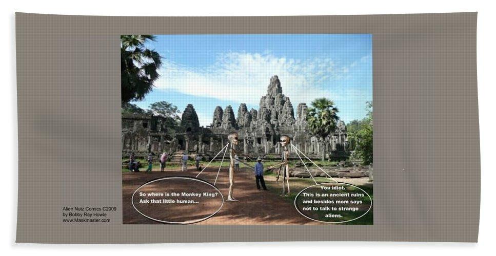 Alien Nutz Comics Cambodia Bath Towel featuring the mixed media Cambodia 2 by Robert aka Bobby Ray Howle