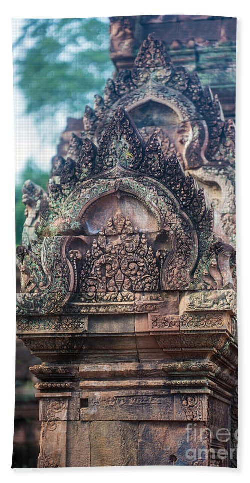 Sunrise Bath Sheet featuring the photograph Cambodian Temple Details Banteay Srey by Mike Reid