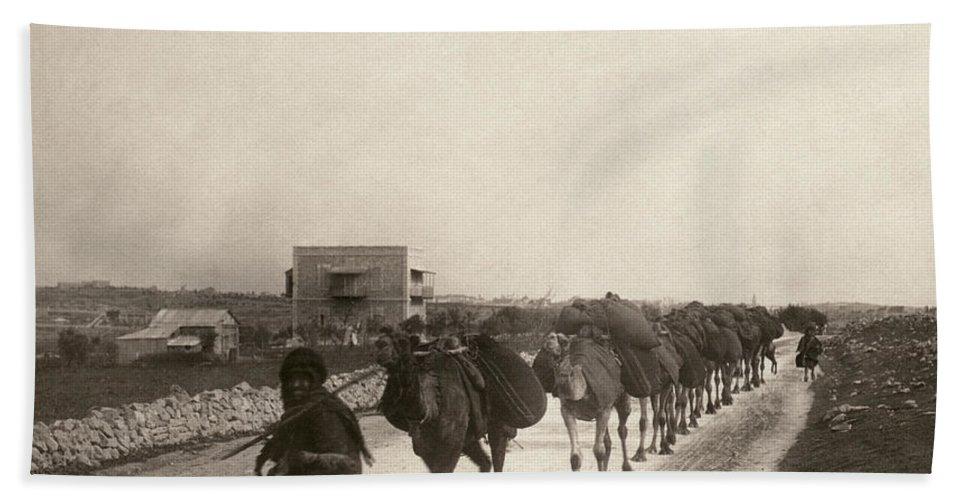 1911 Bath Sheet featuring the photograph Camel Caravan, C1911 by Granger