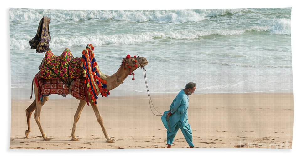 Landscape Bath Sheet featuring the photograph Camel Ride On Beach by Tariq Soomro