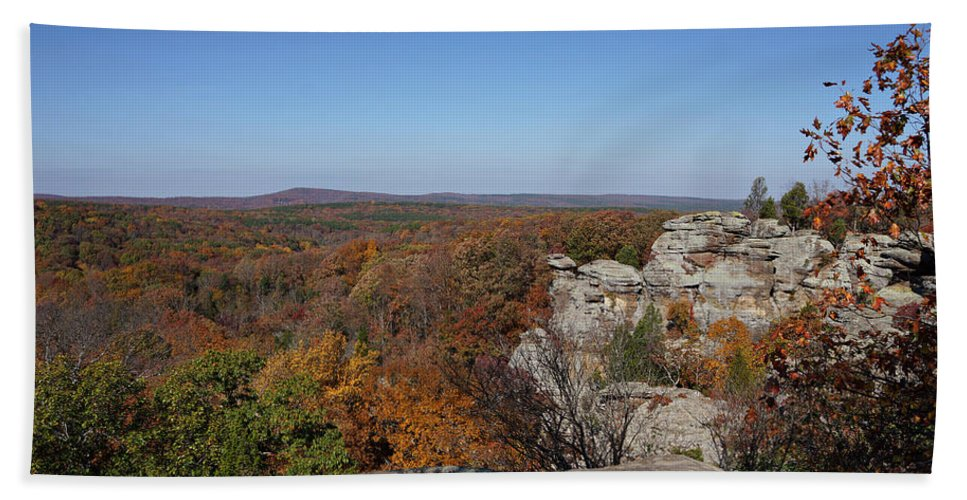Shawnee National Forest Hand Towel featuring the photograph Camel Rock In Autumn by Sandy Keeton