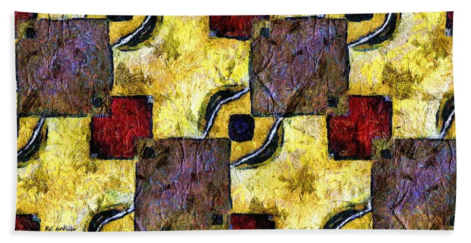 Abstract Hand Towel featuring the painting Camera Obscura by RC DeWinter