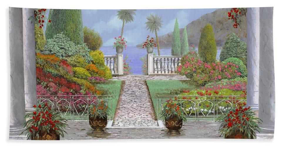 Lake Bath Sheet featuring the painting Camminando Verso Il Lago by Guido Borelli