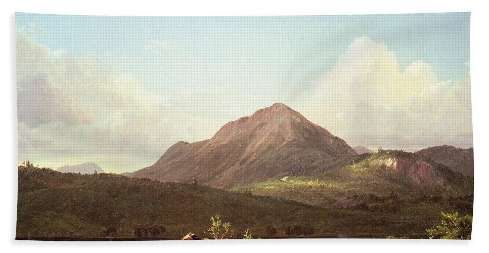 Camp Fire In The Maine Wilderness (oil On Canvas) By Frederic Edwin Church (1826-1900) Hand Towel featuring the painting Camp Fire In The Maine Wilderness by Frederic Edwin Church